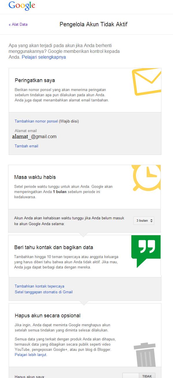 menonaktifkan akun google